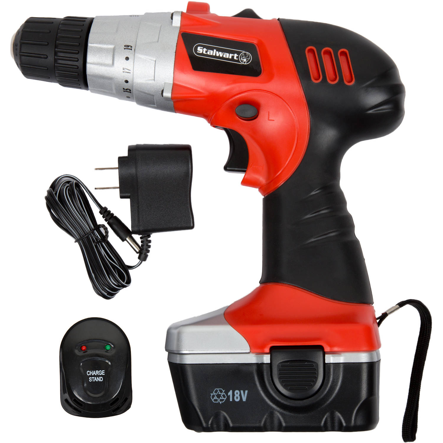 Stalwart 18-Volt Cordless Drill with LED Light