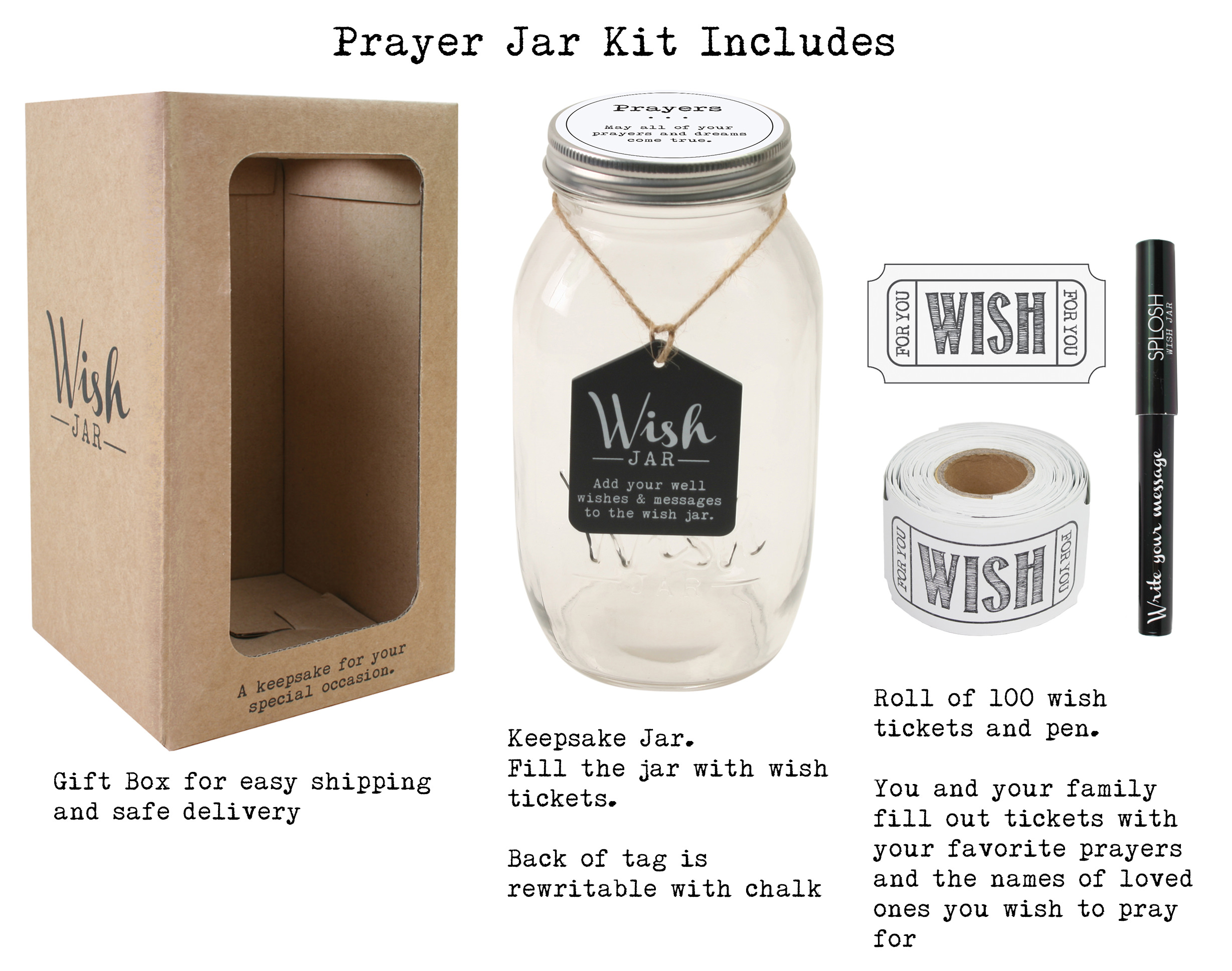 Top Shelf Prayer Wish Jar Personalized Religious Gift For Him Her Unique And Thoughtful Gift Ideas For Friends And Family Kit Comes With 100 Tickets And Decorative Lid