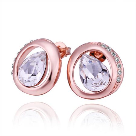 Aventura Jewellery 18K Rose Gold  Circular Stud Earrings with Crystal Jewel Made with Cubic -