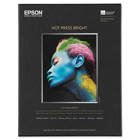 Epson Hot Press Bright Fine Art Paper, 8-1/2 x 11, Bright White, 25 Sheets