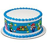 Super Mario Bros Game on Edible Icing Image Designer Strips Birthday Wedding Baby Shower Party Toppers Favors Three Strip -