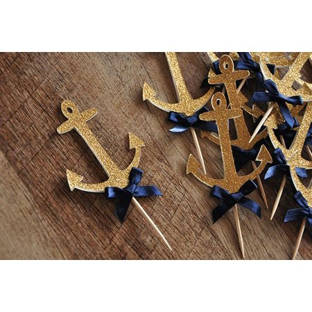 Anchor Cupcake Toppers.  Ships in 1-3 Business Days.  Nautical Baby Shower Decorations.   12CT. (Anchor Decorations)