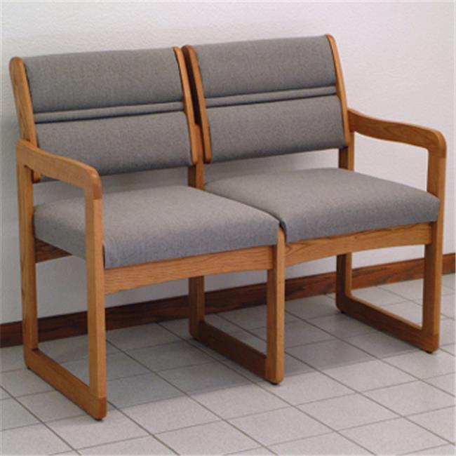 Wooden Mallet DW2-2LOVK Valley Two Seat Sofa in Light Oak - Black
