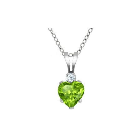 0.54 Ct Heart Shape Green Peridot White Topaz 925 Sterling Silver Pendant