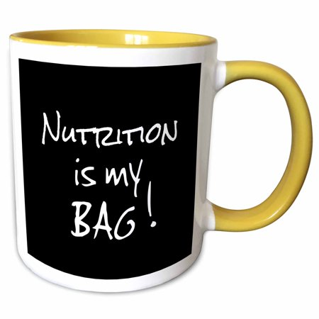 3dRose Nutrition is my Bag. Nutritionist dietician gift black and white text - Two Tone Yellow Mug, 11-ounce (Nutritionist Mug)