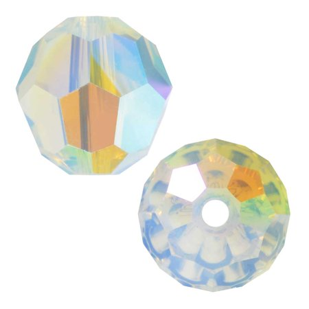 Swarovski Crystal, #5000 Round Beads 8mm, 8 Pieces, White Opal Shimmer Swarovski Tanzanite Round Beads