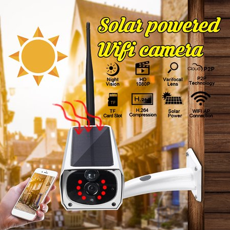 Outdoor HD 1080P 2MP Waterproof Solar Security Camera Wireless WIFI IP  Camera Night Vision PIR Detection for Android/IOS Phone Porch Garden Patio