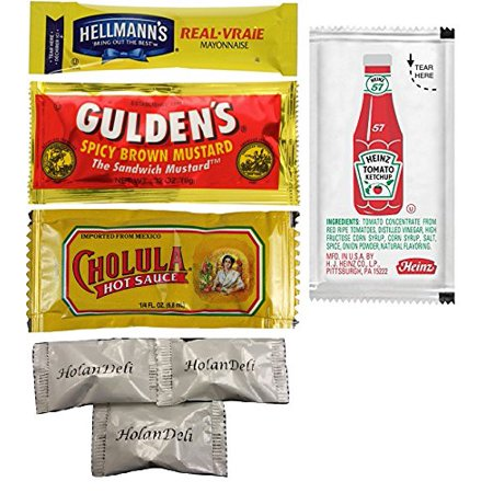 (Pack of 80 ) Hellmann's Mayonnaise, Heinz Ketchup, Gulden's Spicy Brown Mustard, Cholula Hot Sauce. Assorted Single Serve Packets. Includes HolanDeli Chocolate Mints.