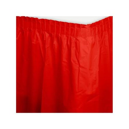 Red Plastic Table Skirt - Party Supplies - Red Table Skirt