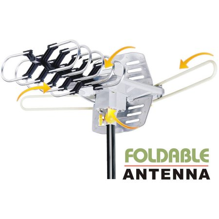 Amplified HD Outdoor HDTV Antenna, 360-Degree Rotation, UHF/VHF/FM Radio, Remote Control