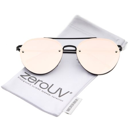 bc7dc7369ea89 zeroUV - zeroUV - Modern Slim Temples Brow Bar Rimless Pink Mirror Flat  Lens Aviator Sunglasses 59mm (Black   Pink Mirror) - 59mm - Walmart.com