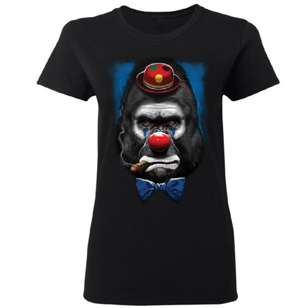 Gorilla Clown Smoking Cigar Women's T-shirt Funny Halloween 2017 Tee Black Small - Woman's Day Halloween Celebrations 2017