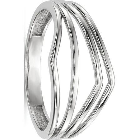 14k White Gold White Polished 4-Bar Ring - image 4 of 4