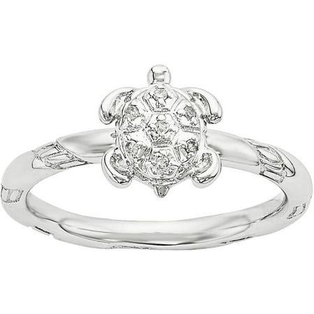 Diamond Sterling Silver Turtle Ring - Enamel Turtle Ring