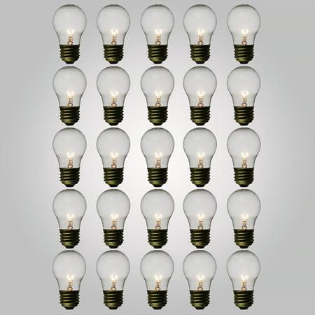 Fantado Clear 15-Watt A15 Standard Light Bulbs, E26 Medium Base (25 PACK) by PaperLanternStore