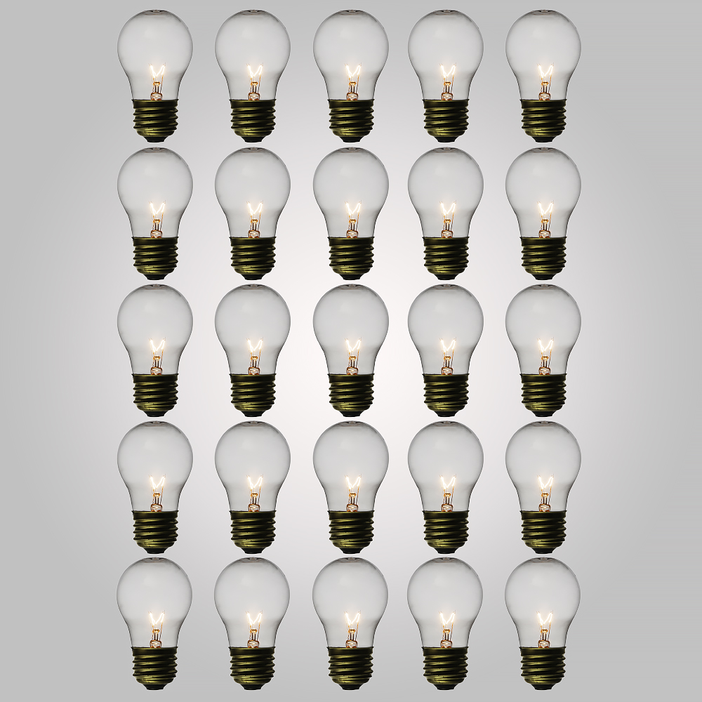 Fantado Clear 15-Watt A15 Standard Light Bulbs, E26 Medium Base (25 PACK) by PaperLanternStore