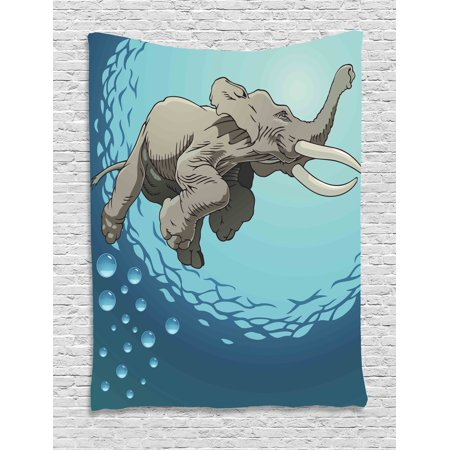Natural Slate Water Wall - Animal Tapestry, Cute Giant Elephant Swimming in Ocean Water Humor Tropical Graphic, Wall Hanging for Bedroom Living Room Dorm Decor, 40W X 60L Inches, Taupe Slate Blue Turquoise, by Ambesonne