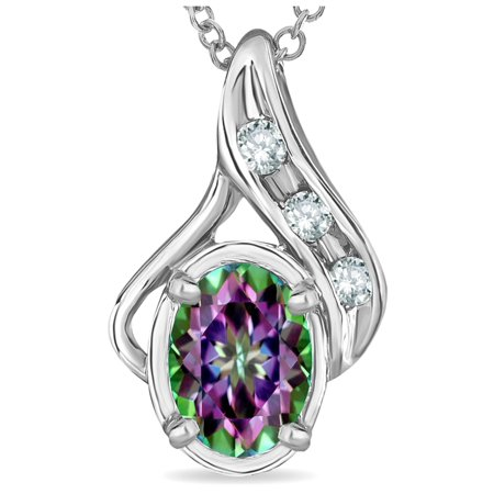 Oval 7x5mm Rainbow Mystic Topaz Drop Pendant Necklace