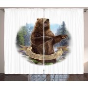Bear Curtains 2 Panels Set, Angry Mammal Carnivore Attacking Wilderness Forest Realistic Illustration, Window Drapes for Living Room Bedroom, 108W X 84L Inches, Brown Green Pale Blue, by Ambesonne