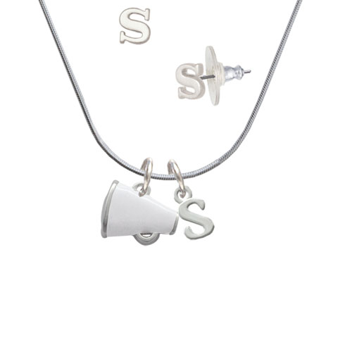 Small White Megaphone - S Initial Charm Necklace and Stud Earrings Jewelry Set