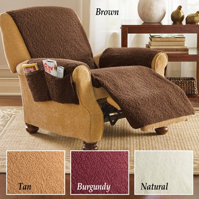 Fleece Recliner Furniture Protector Cover with Pockets, (Fleece Recliner Cover)