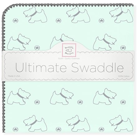 - Ultimate Swaddle Blanket, Made in USA, Premium Cotton Flannel, Gray Doggie on Pastel SeaCrystal, Baby soft, Premium USA Cotton Flannel featuring.., By SwaddleDesigns