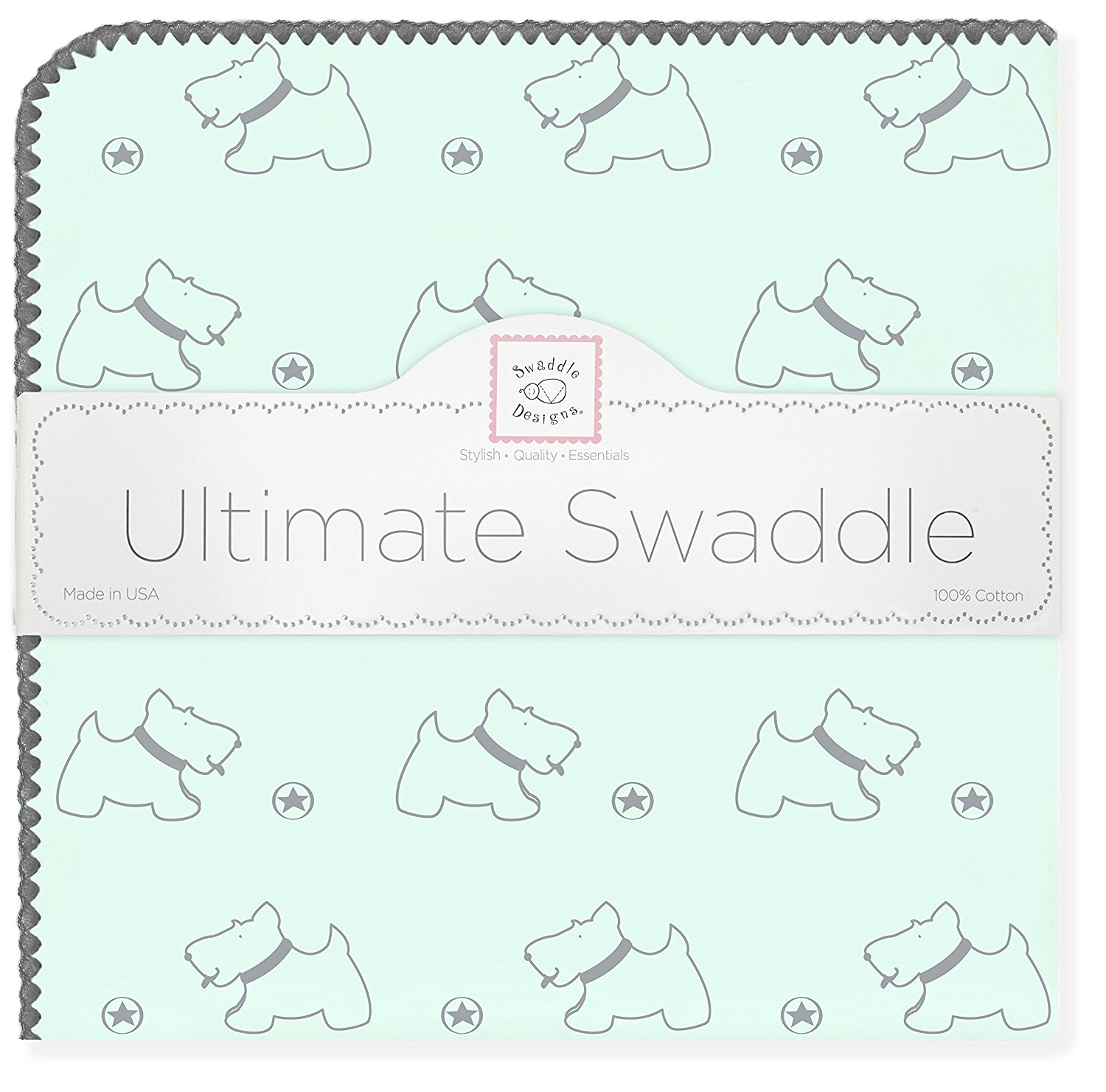 Ultimate Swaddle Blanket, Made in USA, Premium Cotton Flannel, Gray Doggie on Pastel SeaCrystal, Baby soft, Premium USA Cotton Flannel featuring.., By SwaddleDesigns