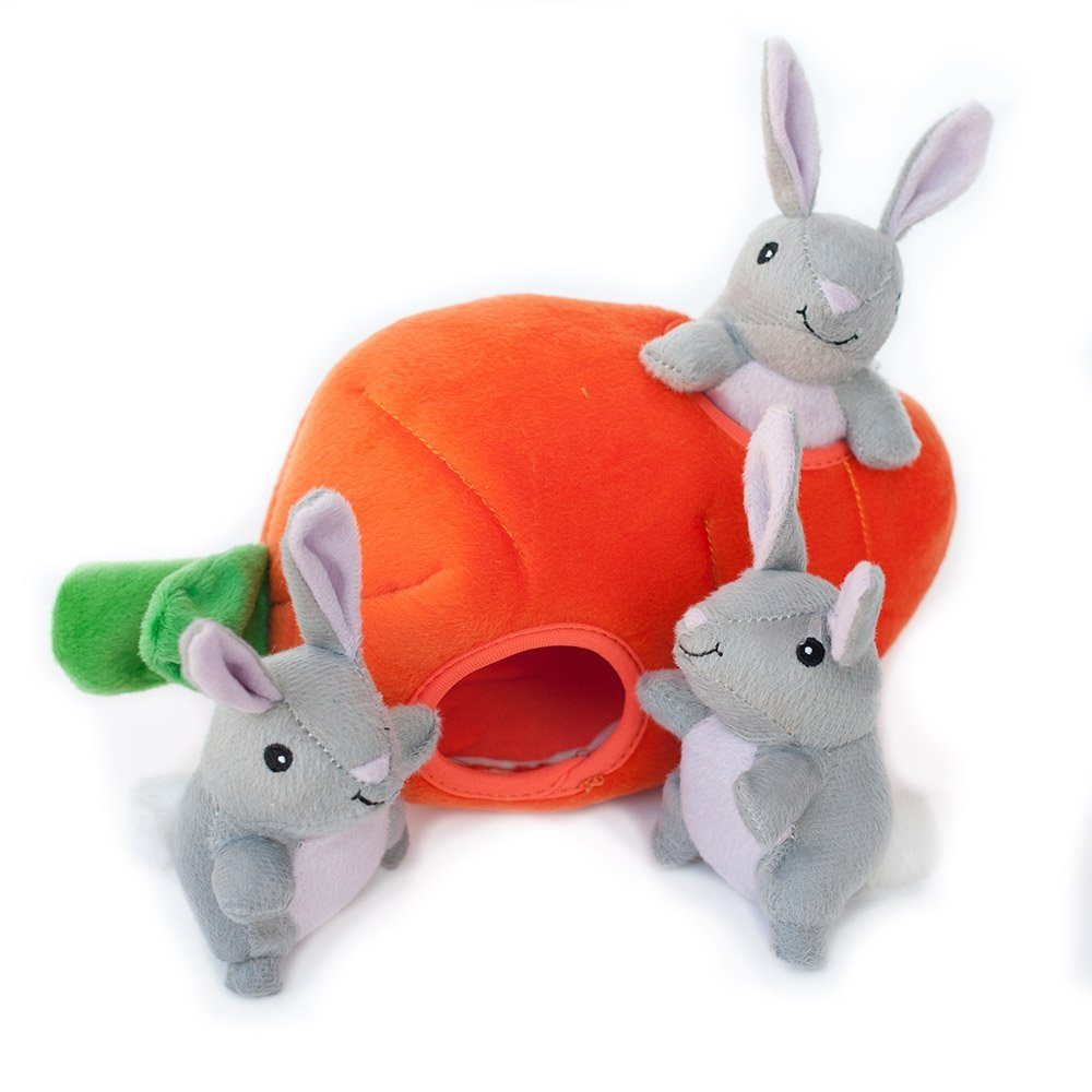 ZippyPaws Burrow Squeaky Hide and Seek Plush Dog Toy, Bunny n Carrot