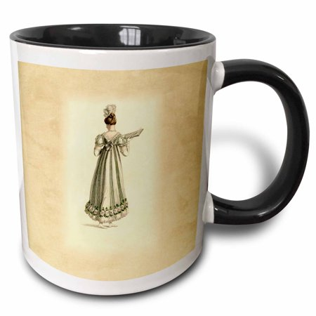 3dRose image of lady dressed in regency period dress - Two Tone Black Mug, 11-ounce