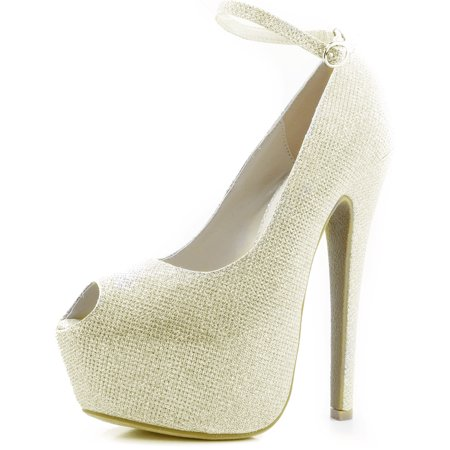 Women's Extreme High Fashion Ankle Strap Peep Toe Hidden Platform Sexy Stiletto High Heel Pump Shoes Gold Glitter, 10 B(M) US Pump Medium Heel Ankle Strap