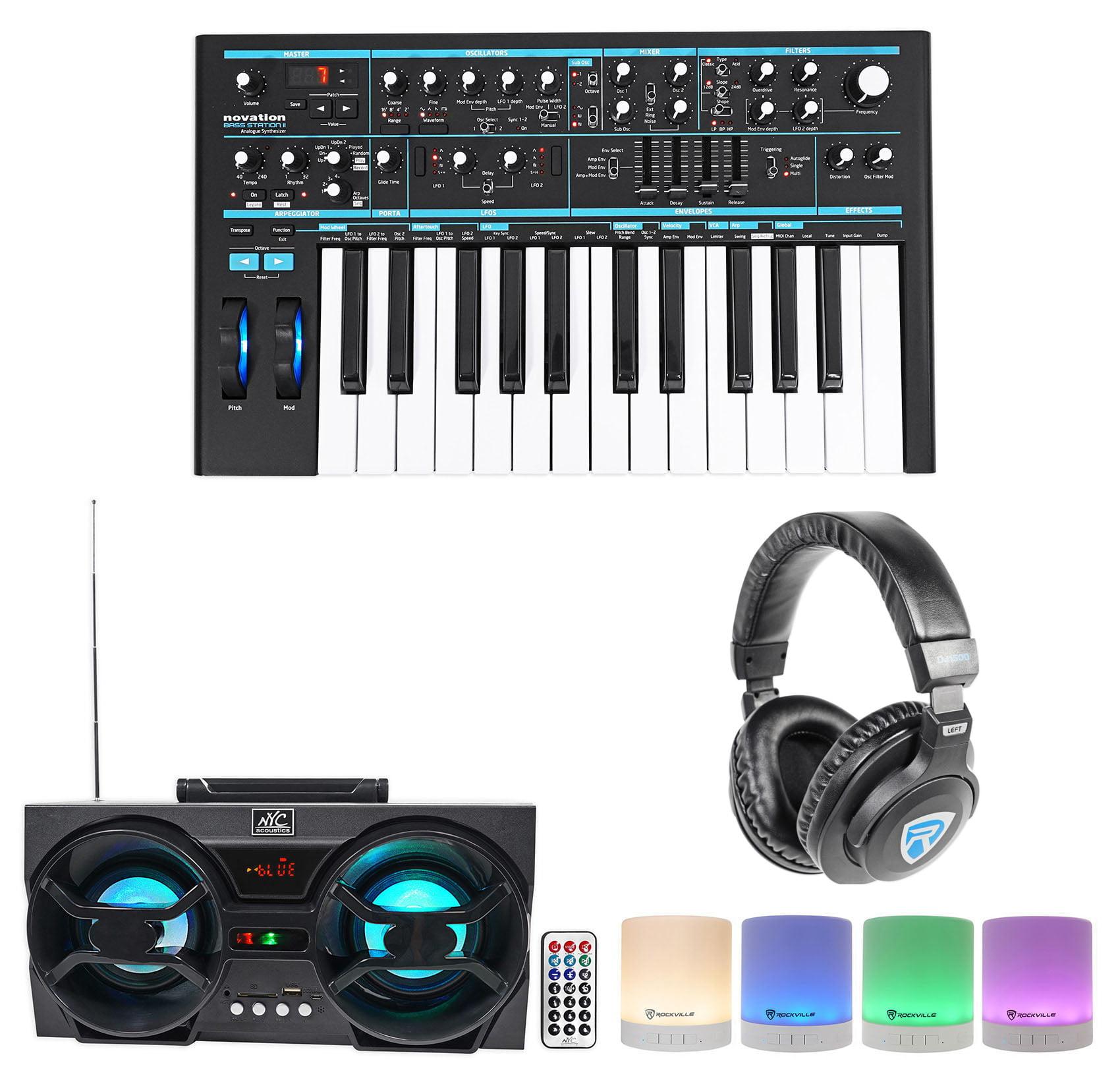 Novation BASS STATION II 25-Key MIDI USB Keyboard+Headphones+Bluetooth Speakers by NOVATION