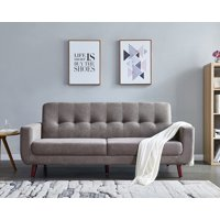"""Brown Couches and Sofas, Mid Century Modern Sectional Fabric Sofa for Small Spaces, Rolled-Arm Loveseat Sofas with Solid Wood Frame, Tufted Loveseat Sofa Couch for Living Room and Office, 79""""W, L1176"""