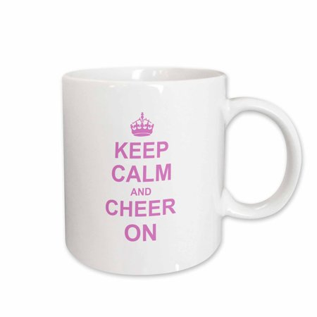 3dRose Keep Calm and Cheer on - carry on cheering - gift for cheerleaders - pink fun funny humor humorous - Ceramic Mug, 15-ounce (Funny Cheerleader)