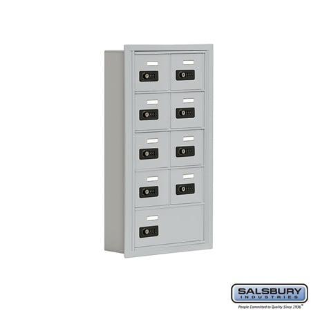 - Salsbury Industries 19055-09ARC Cell Phone Storage Locker - 5 Door High Unit (5 Inch Deep Compartments) - 8 A Doors and 1 B Door - Aluminum - Recessed Mounted - Resettable Combination Locks