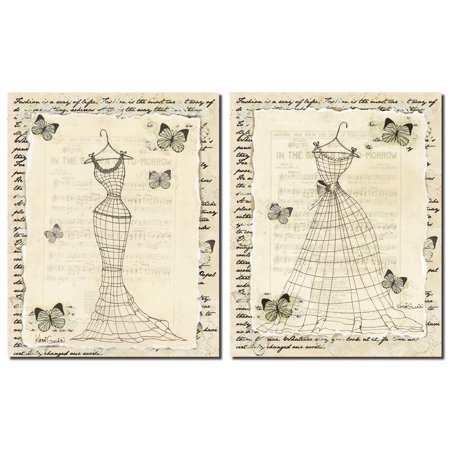 Vintage Womens Fashion Silhouette Forms; Butterfly and Music Sheet Background; Two 11X14 Poster Prints
