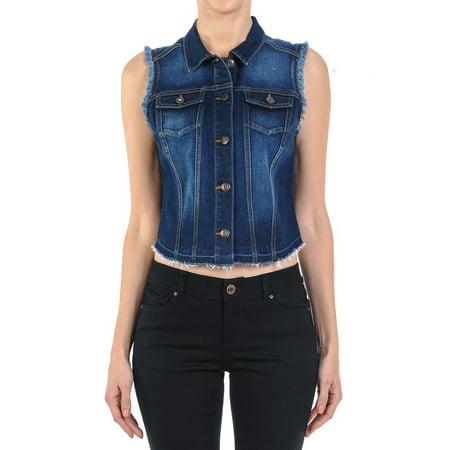 Women's Plus/Junior size Sleeveless Button Up Cropped Denim Vest (Cropped Denim Vest)
