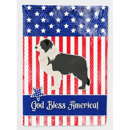 USA Patriotic Black Border Collie Flag Canvas House Size