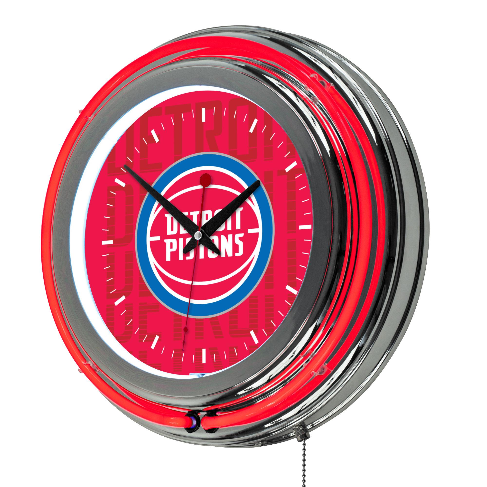 NBA Chrome Double Rung Neon Clock - City - Detroit Pistons