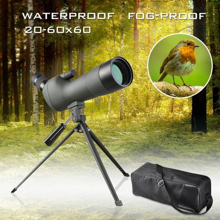 20-60x60mm Zoom Angled Spotting Scope Monocular Telescope Angled Eyepiece Waterproof with Tripod & Soft