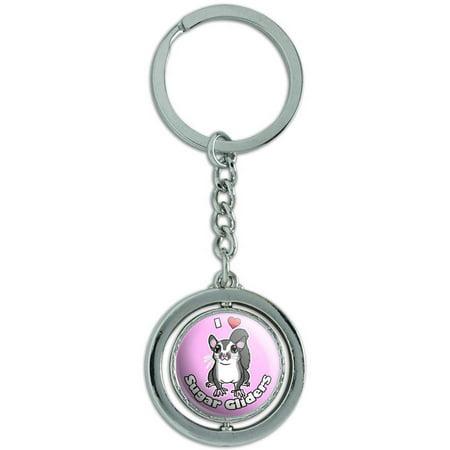 I Heart Love Sugar Gliders Pink Spinning Round Metal Key Chain Keychain Ring