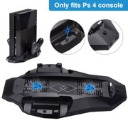 TSV Vertical Stand with Cooling Fan Fit for Regular PlayStation 4 PS4, All-in-One Design with Console Vertical Stand, Dual Powerful Cooler Fans and Dual Controller Charging Station (Not for PS4 Pro)