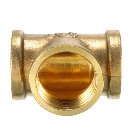 Brass Tee Pipe Fitting 3/4 PT Female Thread T Shaped Connector Coupling - image 2 de 3