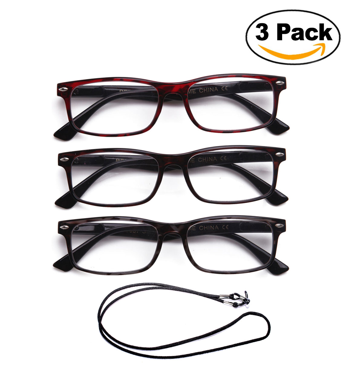 3 Pack Light Compact Squared Fashion Reading Glasses Translucent Spring Hinges with Lanyard +2.00