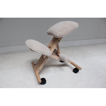 Kneeling Chair with Memory Foam Natural Wooden Frame Gray