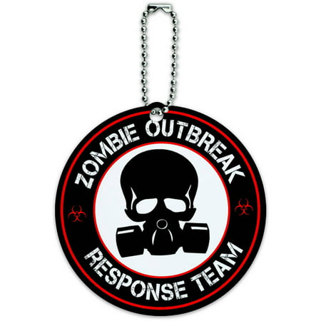 Zombie Outbreak Response Team Gas Mask Red Round Luggage ID Tag Card for Suitcase or Carry-On