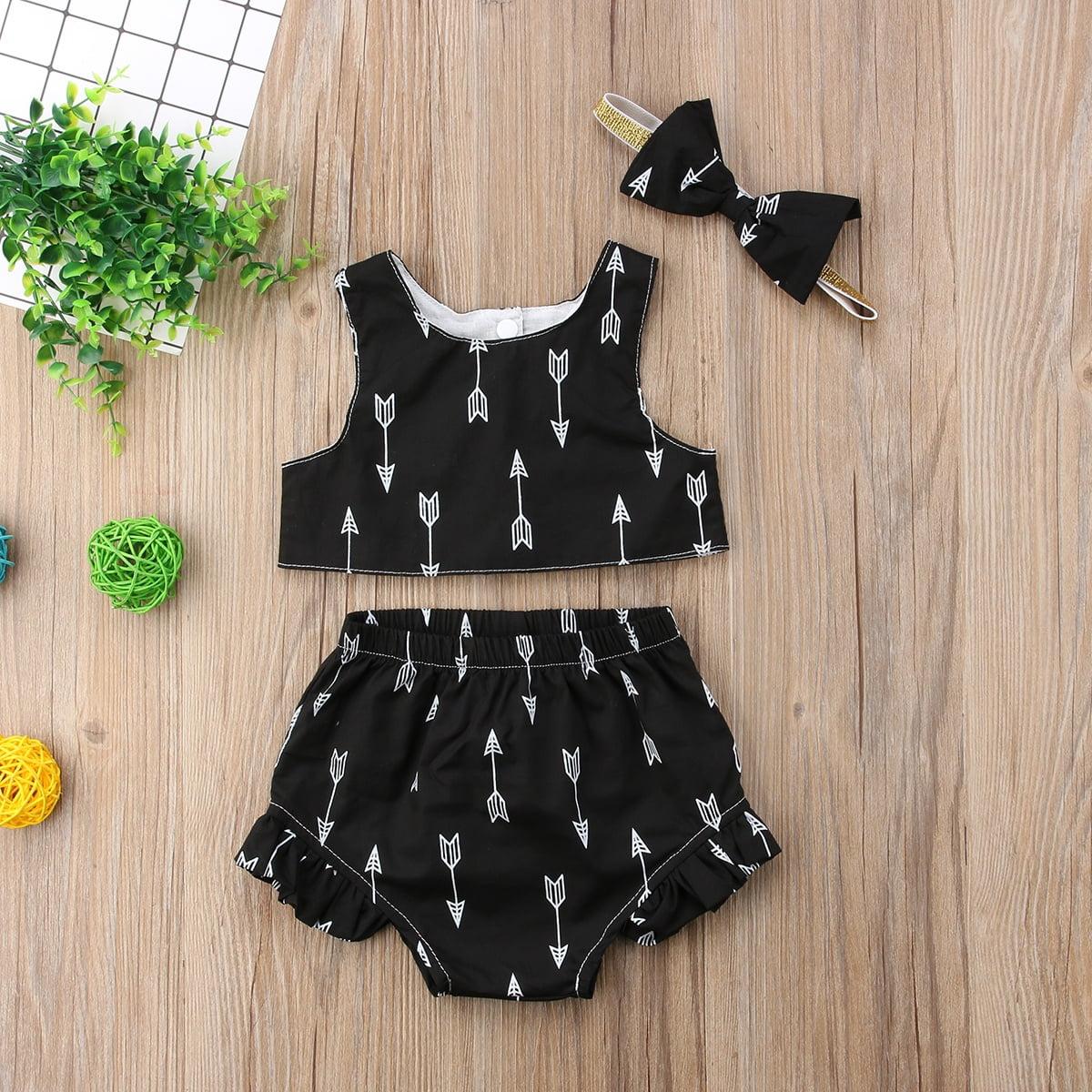 5bd23387ca4 2Pcs Newborn Infant Baby Girls Sleeveless Crop Tops Shorts Outfits Sets  Clothes - Walmart.com