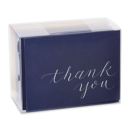 American Greetings 50 Count Thank You Cards and Envelopes, Navy