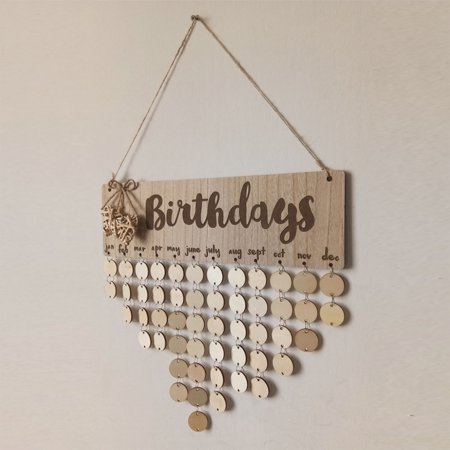 Wooden Calendar Birthdays Round Printed Lowercase Wall Calendar Sign Special Dates Reminder Board Home Hanging Decor Gift Style:As shown - image 3 de 7