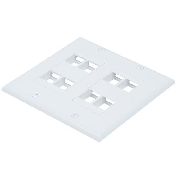 2-Gang Flush Wallplate for 8 Keystone Jacks- White - image 1 of 1