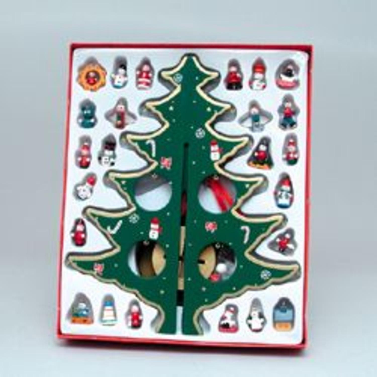 "12.25"" Wooden Christmas Tree with Miniature Ornaments Table Top Decoration"